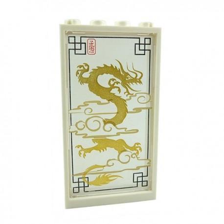 Lego Accessoires Minifig Fenêtre / Paravent Chinois avec Dragon + Entourage blanc 1x4x6 (La Petite Brique)