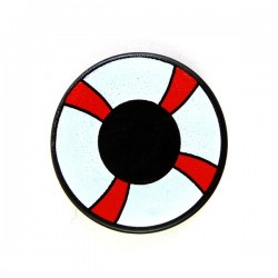 Black Tile, Round 2x2 Red & White Life Preserver, Curved Bands