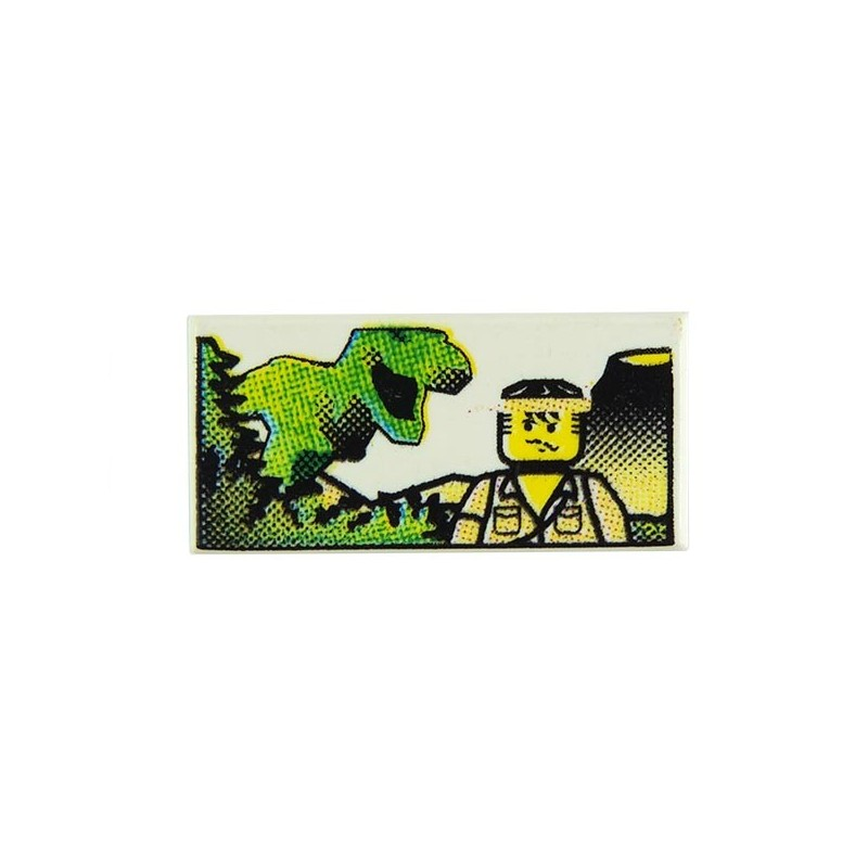 LEGO Tile 1 x 2 with Minifig and Dinosaur Pattern