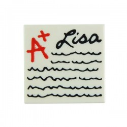 "White Tile 2x2 ""A+ Lisa"" Writing Lines (The Simpsons)"