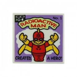 Lego Accessoires Minifig Tile 2x2 BD Radioactive Man (Les Simpson) (La Petite Brique)