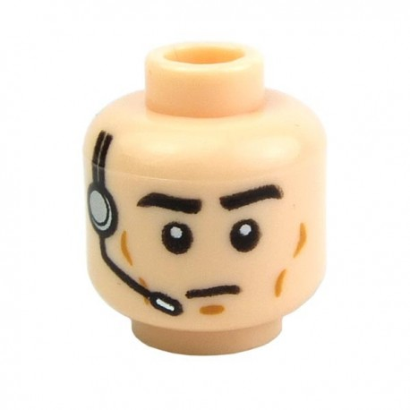 Light Flesh Minifig, Head Male Black Eyebrows, Cheek Lines, Frown, Headset