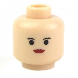 Light Flesh Minifig, Head Female with Red Lips, Small Eyebrows
