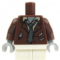 Reddish Brown Torso Ripped Suit Jacket, Tan Shirt & Dark Bluish Gray Tie