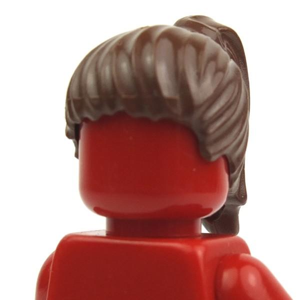 LEGO Minifig Headgear Hair Swept Back w// Short Ponytail Dark Brown 4184 9515