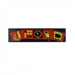 Black Tile 1x4 Control Panel Red & Yellow