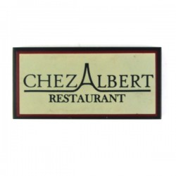 Black Tile 2x4 'CHEZ ALBERT RESTAURANT'