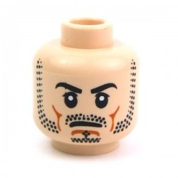Light Flesh Minifig, Head Beard Stubble, Black Eyebrows, Frown, White Pupils