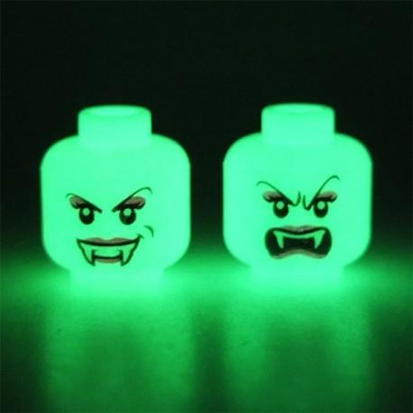 Lego Accessoires Minifig Tête blanche Phosphorescente Vampire féminin (Blanche - Double Visage) (La Petite Brique)