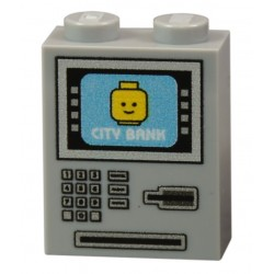 Lego Accessoires Minifig CUSTOM BRICKS Distributeur Automatique de Billets (Light Bluish Gray) (La Petite Brique)