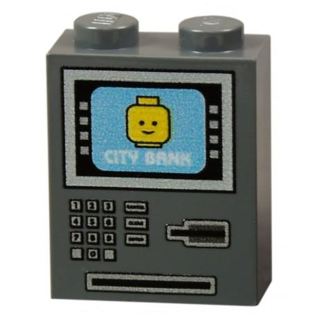 Lego Accessoires Minifig CUSTOM BRICKS Distributeur Automatique de Billets (Dark Bluish Gray) (La Petite Brique)
