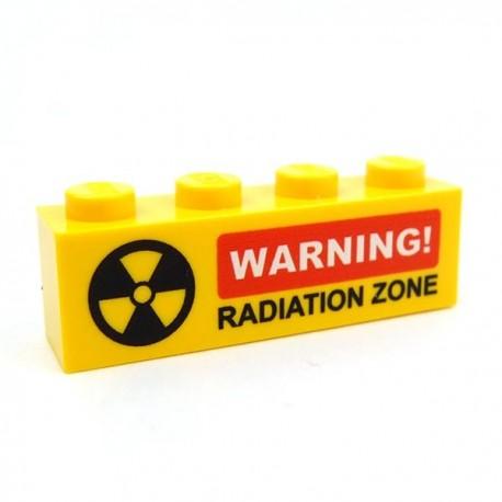Lego Accessoires Minifig CUSTOM BRICKS Warning! Radiation Zone (brique 1 x 4 jaune) (La Petite Brique)