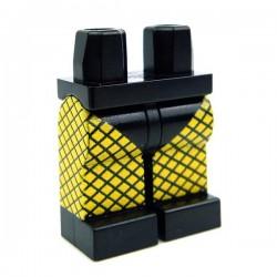 Lego Accessoires Minifig CUSTOM BRICKS Jambes Bas résille (Jaune) (La Petite Brique)