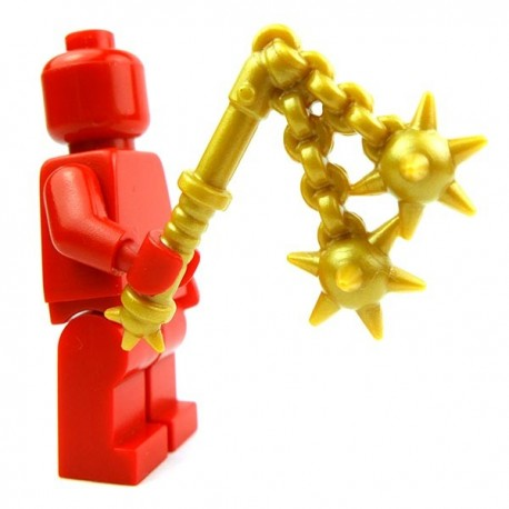Lego Accessoires Minifig Custom BRICK WARRIORS Double Fléau (Pearl Gold) (La Petite Brique)