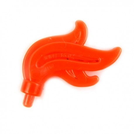 Trans-Neon Orange Minifig, Plume Feather Triple Compact, Flame