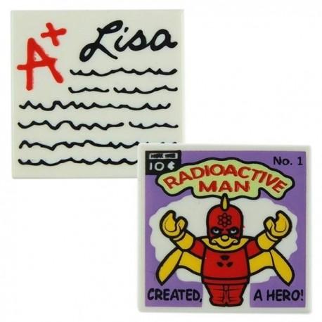 LEGO 2 Tile 2x2 rare Les Simpson : Radioactive Man, Devoir de Lisa (La Petite Brique)