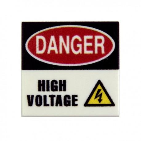 Lego Custom Minifig EclipseGRAFX Danger - High Voltage (Tile 2x2 - Blanc) (La Petite Brique)