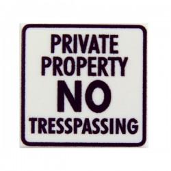 Private Property - No Tresspassing (Tile 2x2 - White)