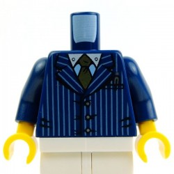 Dark Blue Torso Suit Pinstriped Jacket & Gold Tie
