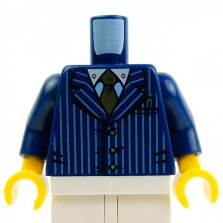 Lego Accessoires Minifig Torse - Costume rayures, cravate (Bleu foncé) (La Petite Brique)