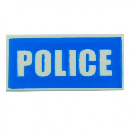 White Tile 1x2 'POLICE' White on Blue Background