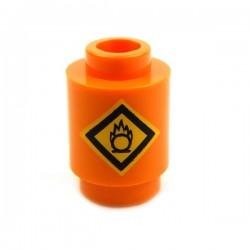 Orange Brick round 1x1, Fire Danger Sign