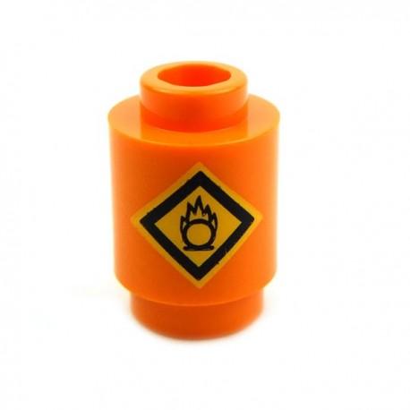 """Lego Accessoires Minifig Brique ronde """"Danger Inflammable"""" (Orange) (La Petite Brique)"""