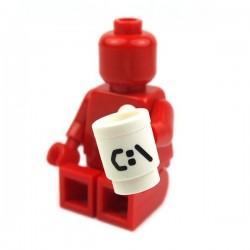 Lego Accessoires Minifig Tasse, Mug 'C:' (blanc) (La Petite Brique)