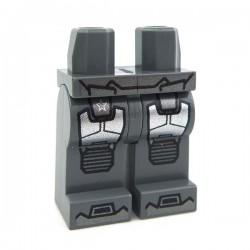 Lego Accessoires Minifig Jambes - Bottes et genouillères (Dark Bluish Gray) (La Petite Brique)