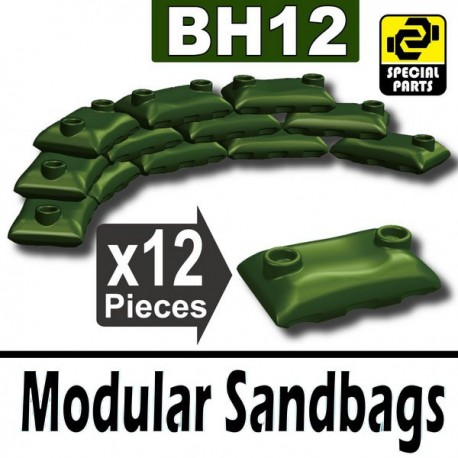 Lego Accessoires Minifig Si-Dan Toys 12 Sacs de sable (Vert Militaire) (La Petite Brique)