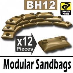 12 Modular Sandbags (Dark Tan)