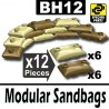 12 Modular Sandbags (6 Dark Tan, 6 Tan)