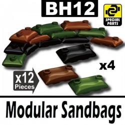 Lego Accessoires Minifig Si-Dan Toys 12 Sacs de sable (4 Marron, 4 Noir, 4 Vert Militaire) (La Petite Brique)