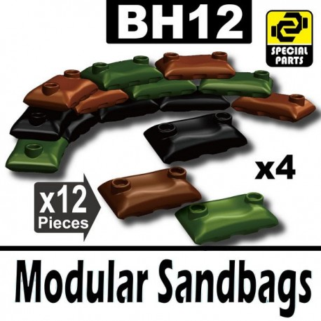12 Modular Sandbags (4 Black, 4 Brown, 4 Military Green)