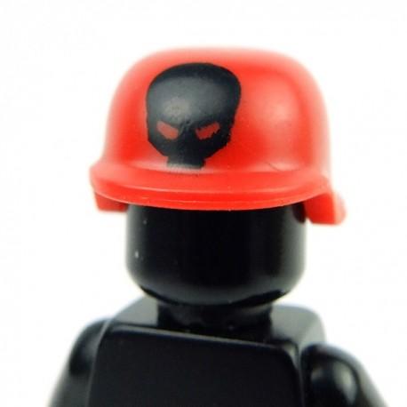 Lego Accessoires Minifig Custom BRICKFORGE Casque Militaire (Red, black skull print) (La Petite Brique)