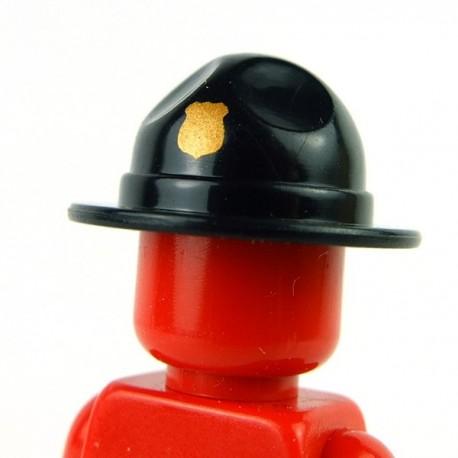 Lego Accessoires Minifig Custom BRICKFORGE Chapeau Ranger (Noir - insigne doré) (La Petite Brique)