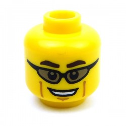 Yellow Minifig, Head Glasses with Trans-Black Sunglasses, Dark Brown Eyebrows, Cheek Lines