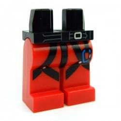 Lego Accessoires Minifig Jambes avec Harnais noir & mousqueton bleu (Rouge) (La Petite Brique)