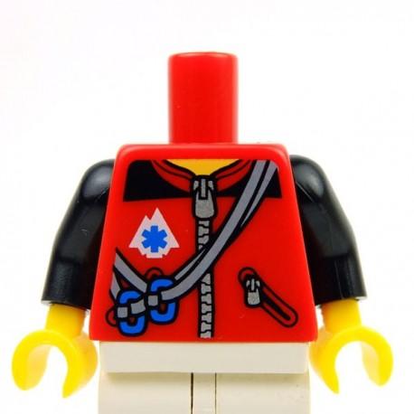 Lego Accessoires Minifig Torse - Veste avec cordes et mousquetons (Rouge) (La Petite Brique)