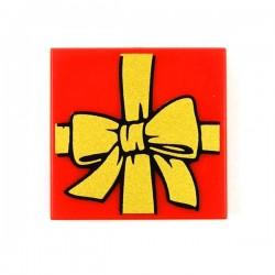 Lego Accessoires Minifig Tile 2x2 Paquet Cadeau (Rouge) (La Petite Brique)