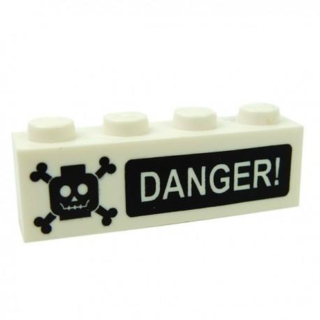 Lego Accessoires Minifig CUSTOM BRICKS DANGER! Poison (brique 1 x 4) (La Petite Brique)