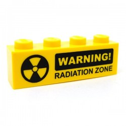 Lego Accessoires Minifig CUSTOM BRICKS WARNING! Radiation (brique 1 x 4) (La Petite Brique)