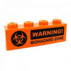 Lego Accessoires Minifig CUSTOM BRICKS WARNING! Biohazard (brique 1 x 4) (La Petite Brique)