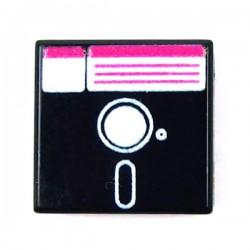 Lego Accessoires Minifig CUSTOM BRICKS Disquette 5 pouces 1/4 (Tile 1x1 - Noir) (La Petite Brique)