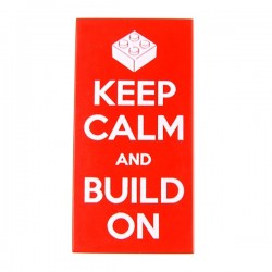Keep Calm and Build On (Tile 2x4 - Red)