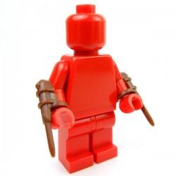 Lego Accessoires Minifig Custom BRICK WARRIORS Hidden Blade (Marron - pair) (La Petite Brique)