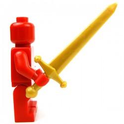 Lego Accessoires Minifig Custom BRICK WARRIORS Épée à deux mains (Pearl Gold) (La Petite Brique)