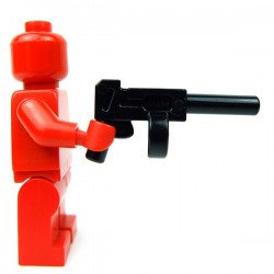Lego Accessoires Minifig Pistol Automatic Long Barrel & Round Magazine (Noir) (La Petite Brique)