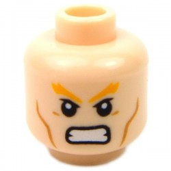 Light Flesh Head Dual Sided Bushy Orange Eyebrows, Cheek Lines, Frown - Angry