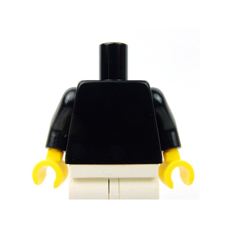 Lego Minifig Torso x 10 Black Body /& Arms with Yellow Hands